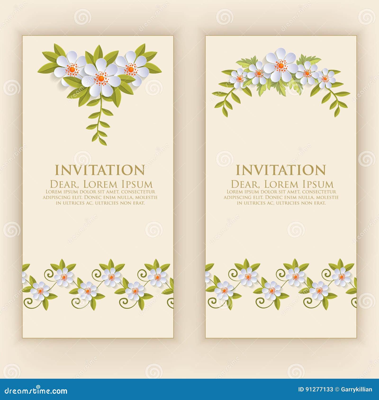White för bröllop för vektor för inbjudan för bakgrundskortteckningar Vektorinbjudankort med eleganta blommabeståndsdelar med tex