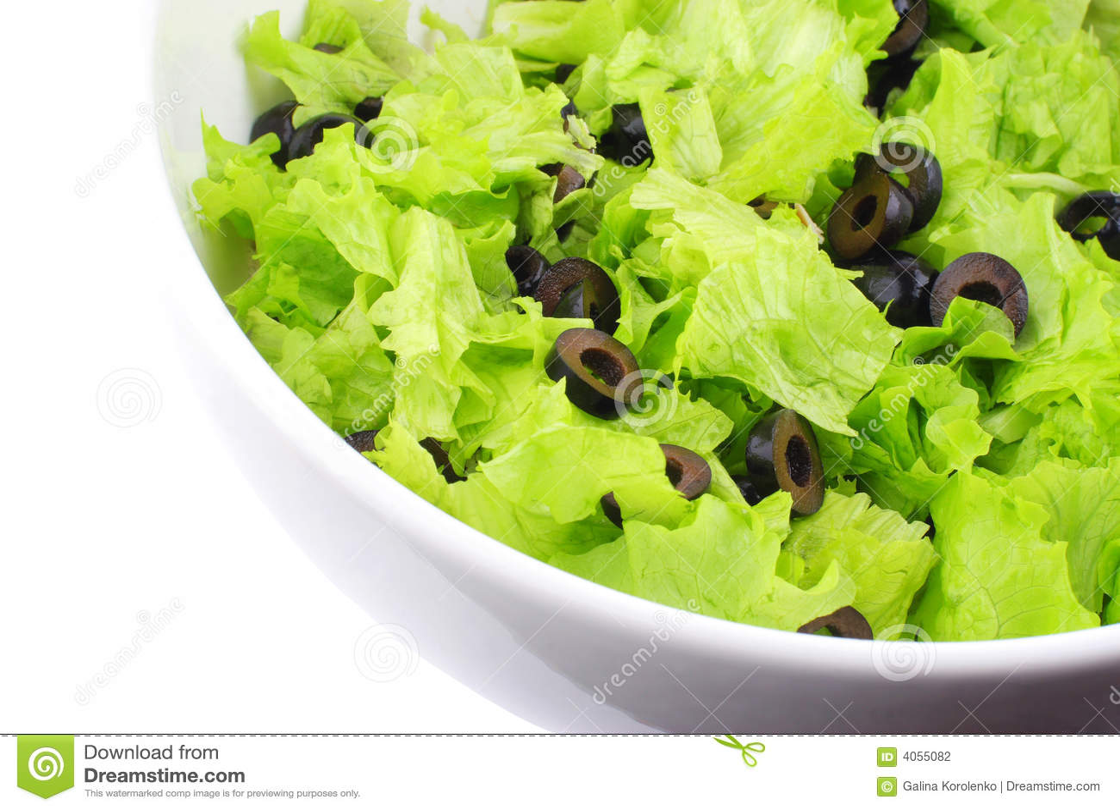 White för del för maträttgrönsallatolivgrön