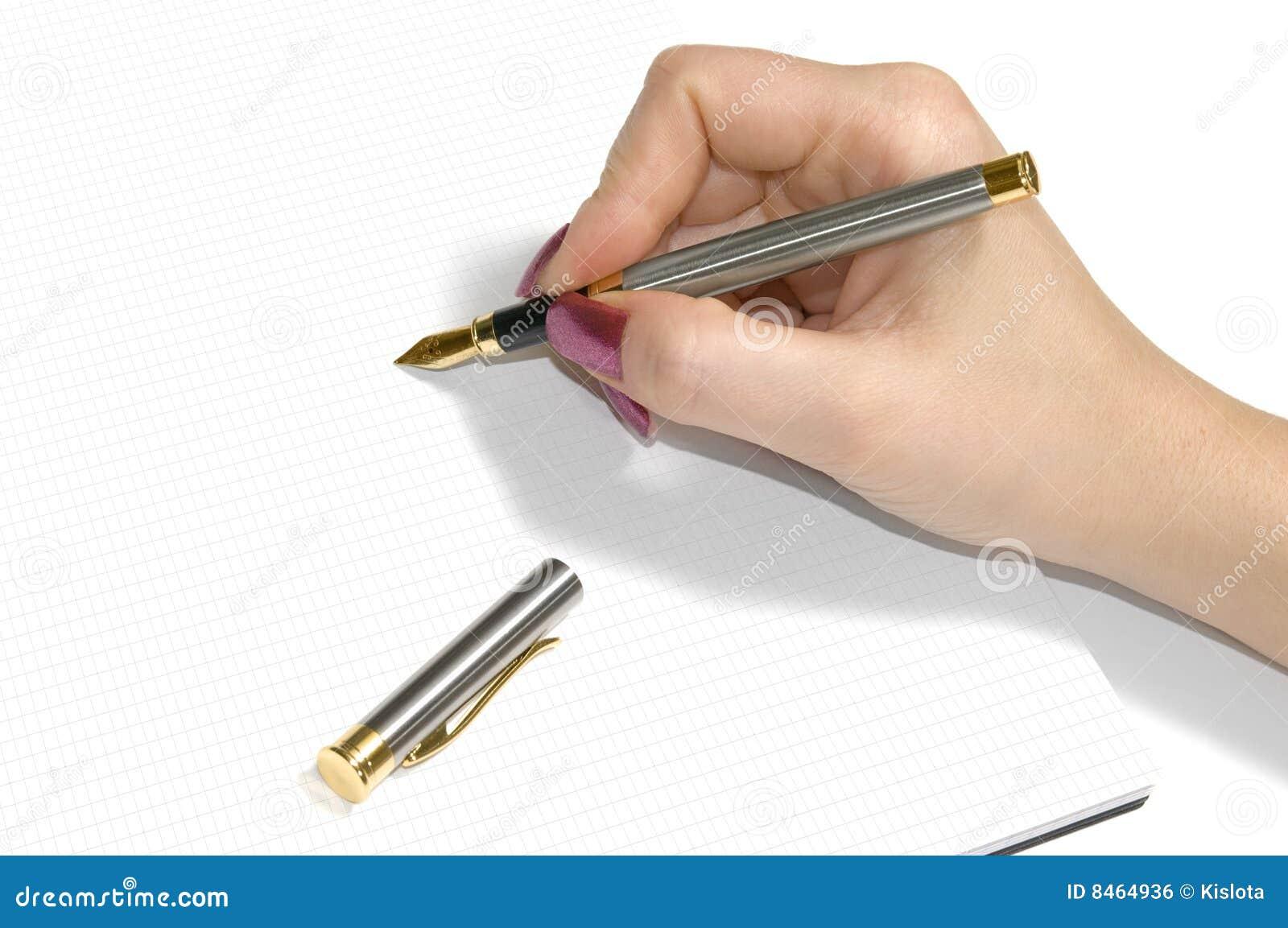 White för penna för handfärgpulveranteckningsbok