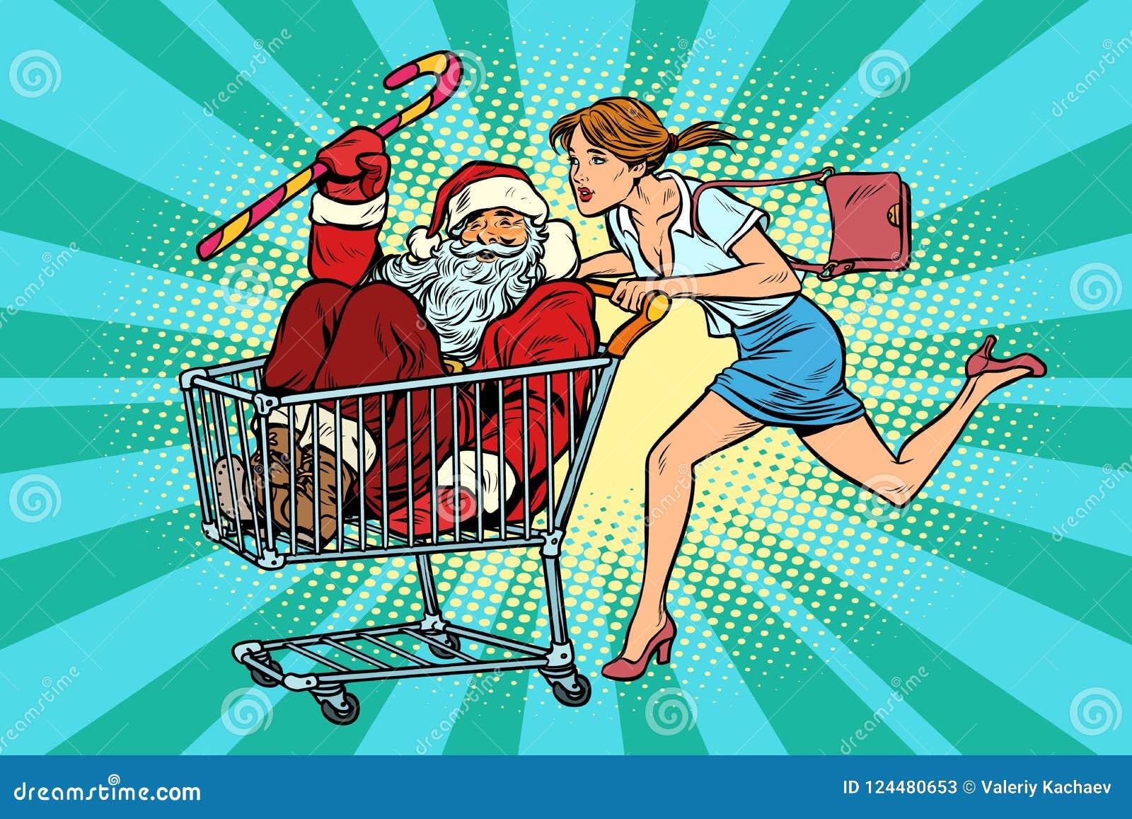 White för shopping för försäljning för bakgrundsjulflicka lycklig Kvinnan som köps Santa Claus trol för shoppingvagn