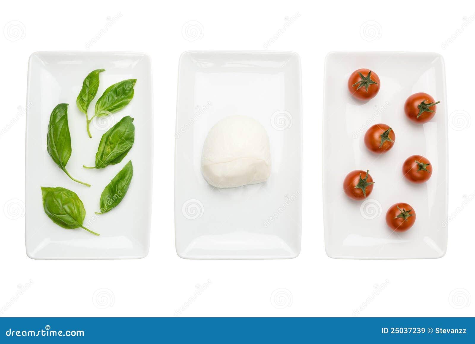 White för tomat för mozzarella för basilikaflaggamat italiensk
