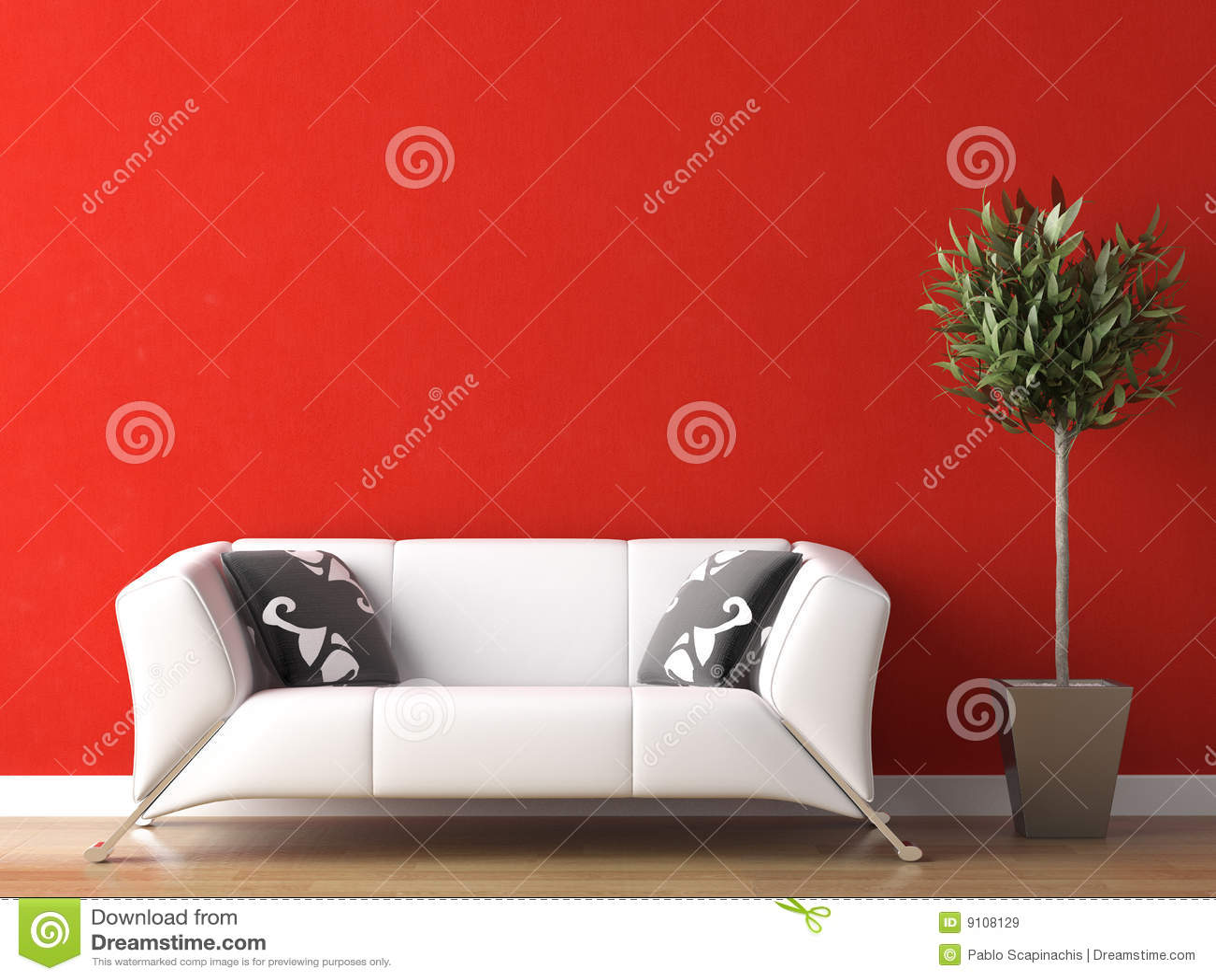 White för vägg för soffadesign inre röd