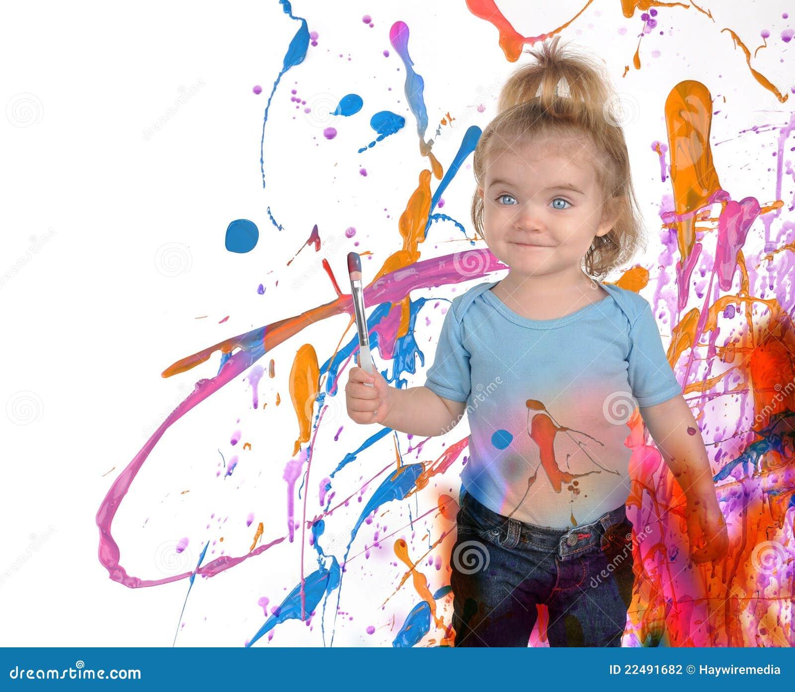 White för målning för konstbarn lycklig