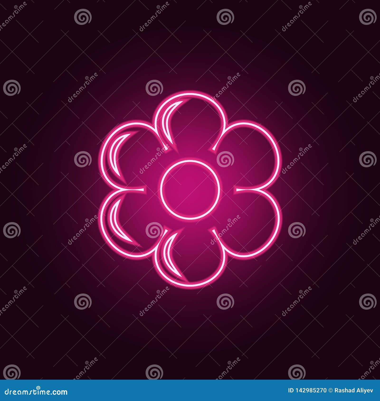 White f?r vektor f?r illustration f?r bakgrundsblommasymbol set Best?ndsdelar av ekologi i neonstilsymboler Enkel symbol f?r webs