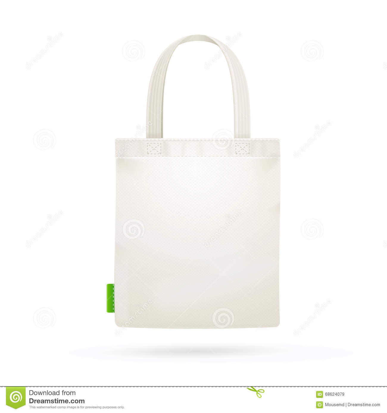White Fabric Cloth Bag Tote. Vector Stock Vector - Image: 68624079