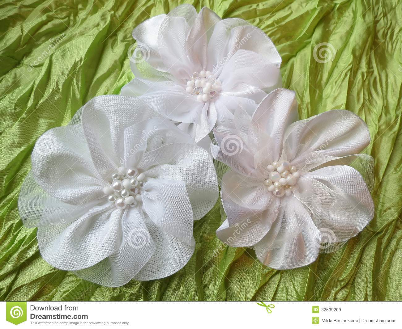White Fabric Flower Stock Image Image Of Leaves Idea 32539209