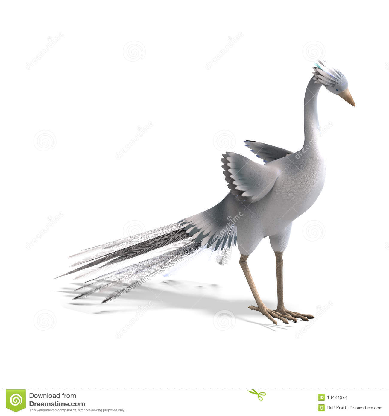 White fantasy bird with beautiful feathers. 3D