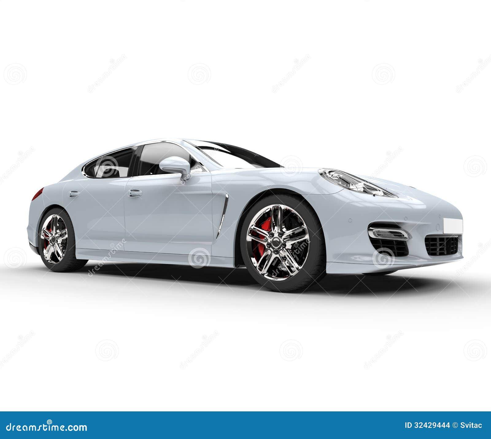 White Fast Car Studio Shot Stock Illustration