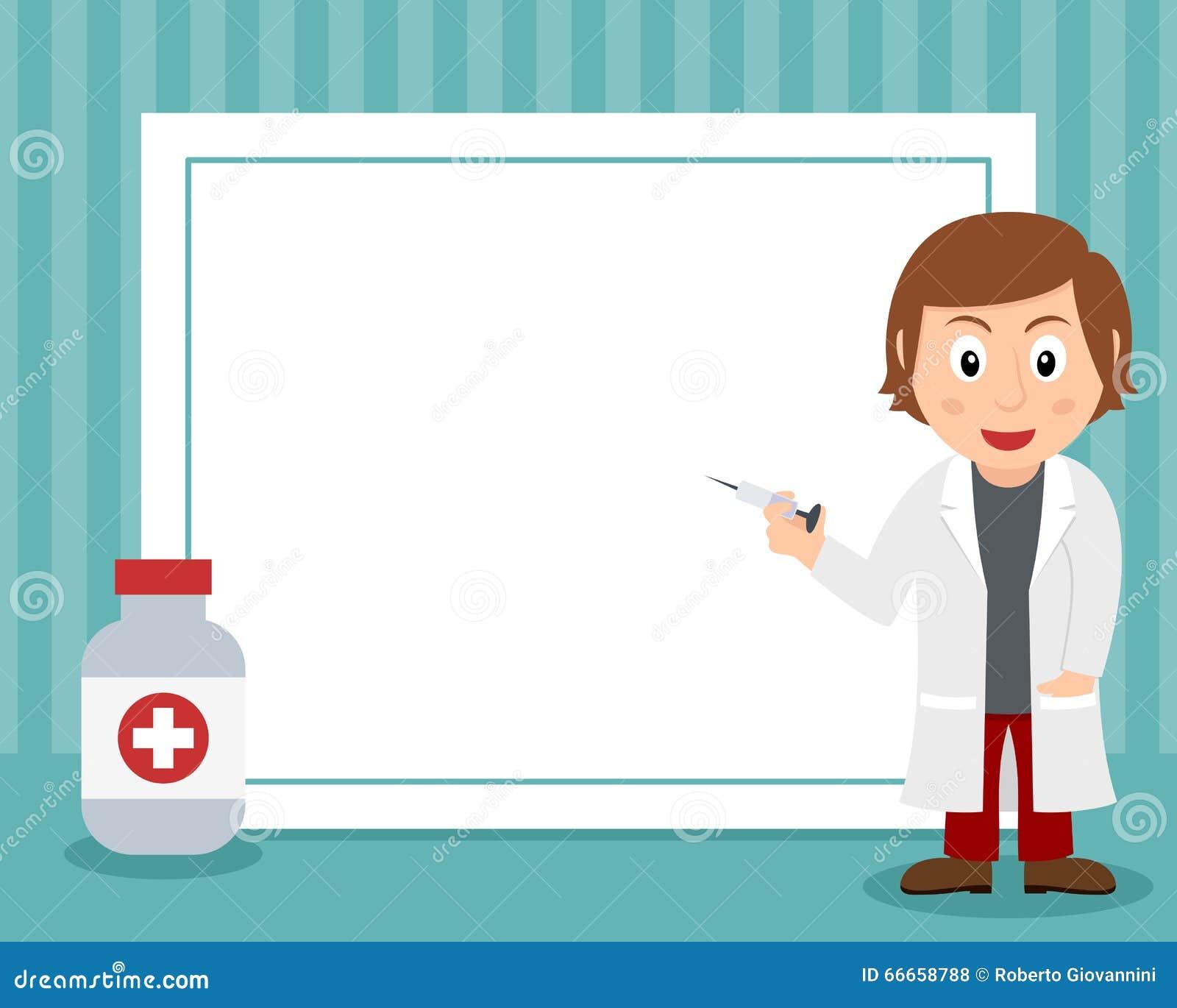 White Female Doctor Horizontal Frame Stock Vector ...