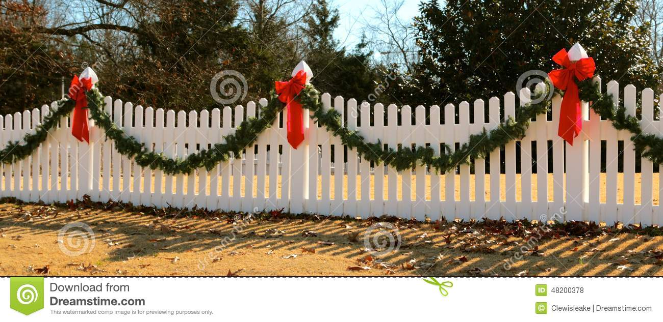 Wreath On Fence Decorated For Christmas Stock Photo Image Of