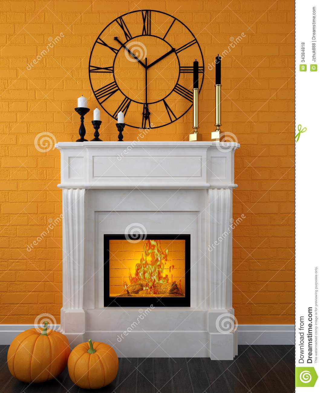White fireplace decorated for halloween royalty free stock - Chimeneas de adorno ...