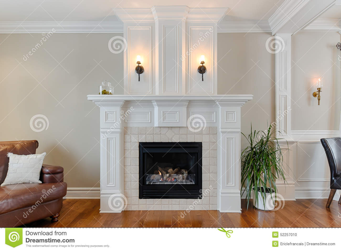 Home fireplace woman put logs happy winter royalty free - Chimeneas de adorno ...