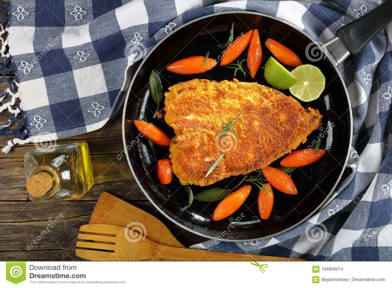 White Fish Steak With Glazed Carrots Stock Photo - Image of