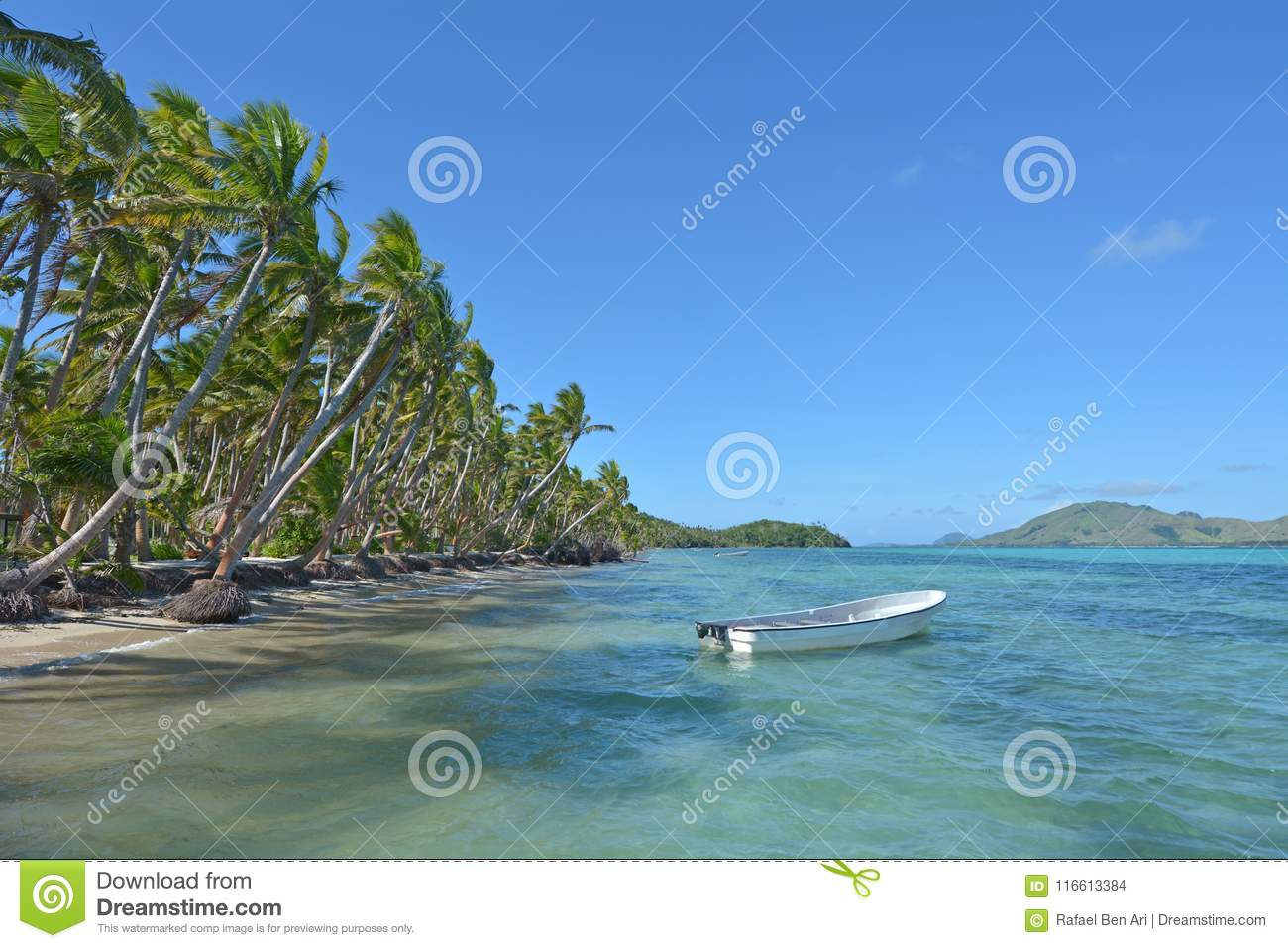 Download White Fishing Boat On A Tropical Island Fiji Stock Photo Image Of Leisure
