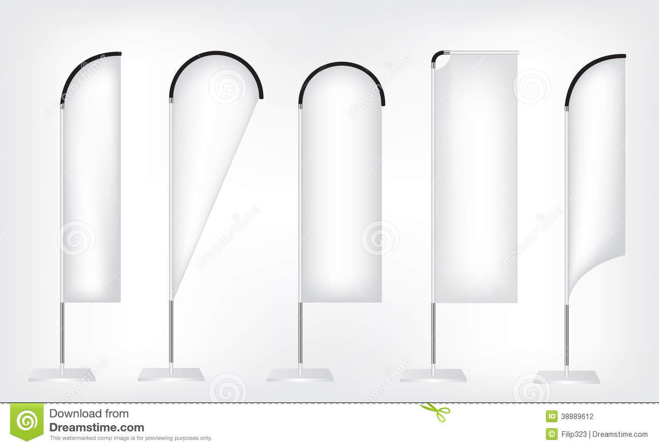 White Flag Banner Stand Stock Vector Illustration Of