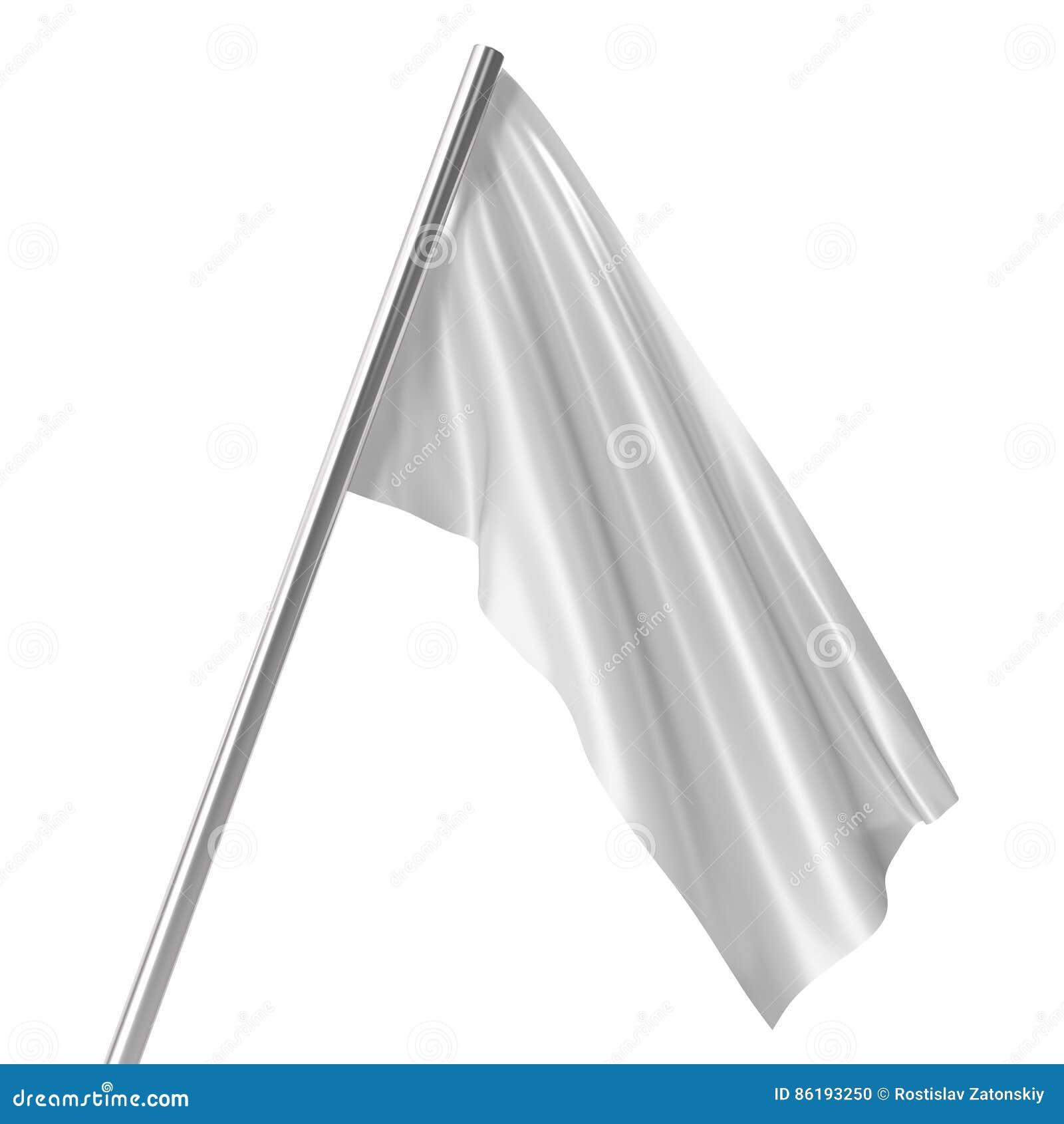 White flag on flagpole at rest empty mockup flag isolated on white background. Blank  sc 1 st  Dreamstime.com & White Flag On Flagpole At Rest Empty Mockup Flag Isolated On White ...
