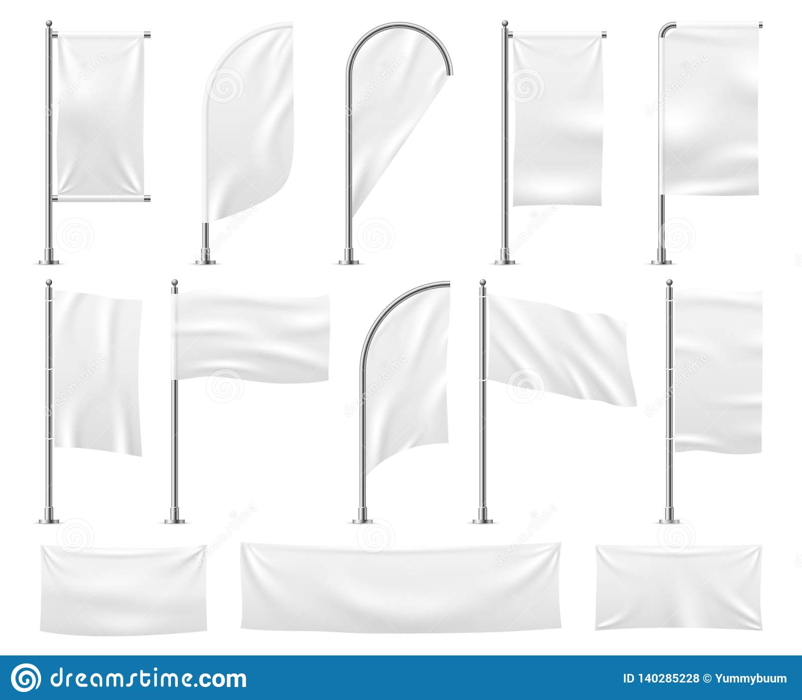 White flags set. Blank banner mockup empty waving fabric canvas poster pennant beach advertising flag vector template