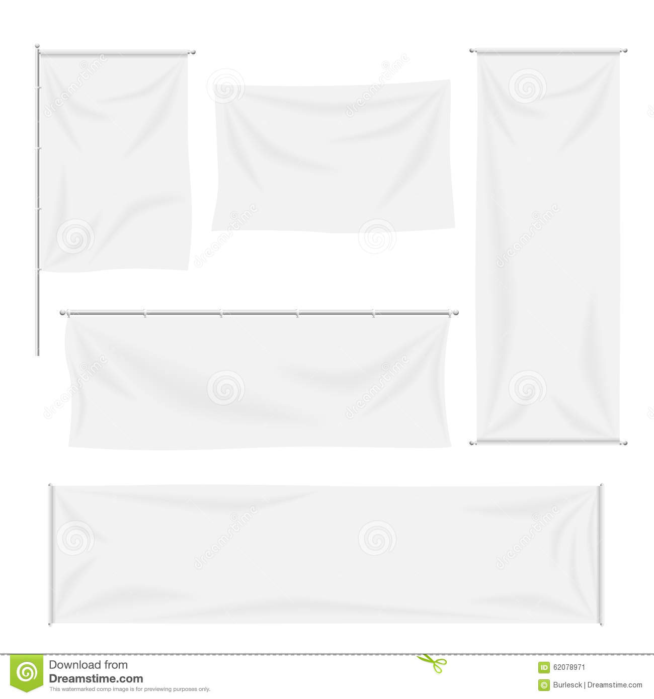 White Flags And Textile Banners With Folds Vector Stock ...