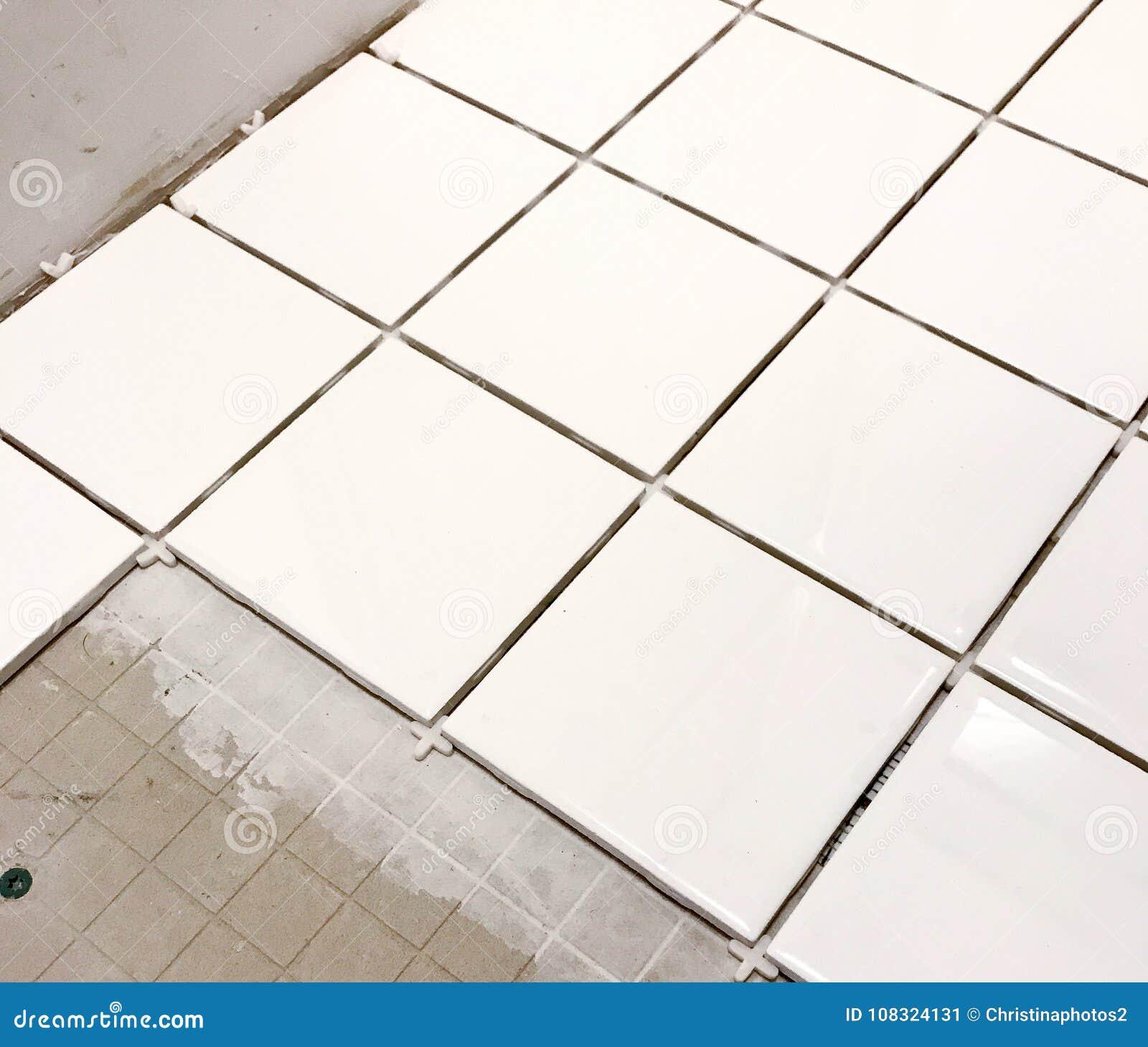 White Floor Tile Installation Stock Image Image Of Tile Square