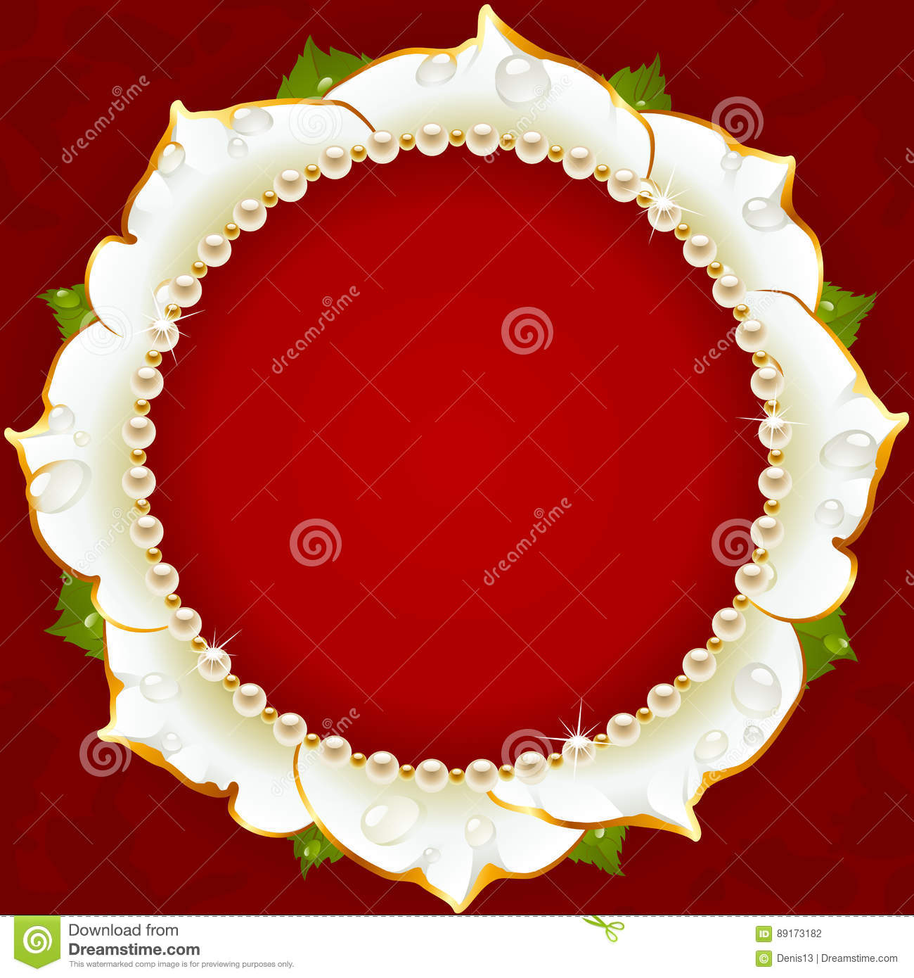 White Floral Circle Frame stock vector. Illustration of greeting ...