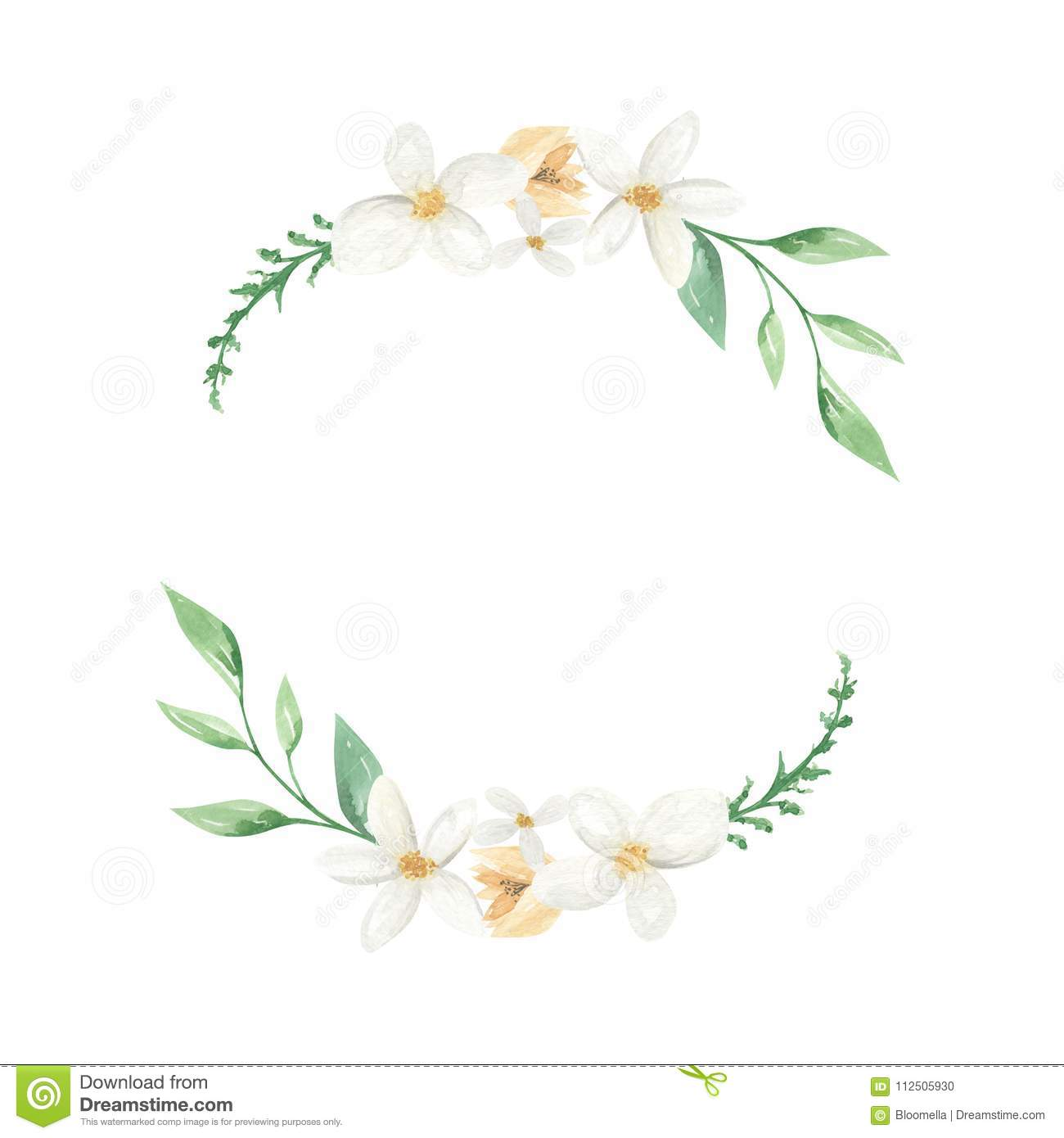 White Floral Green Leaves Wreath Floral Leaf Garland Yellow Stock