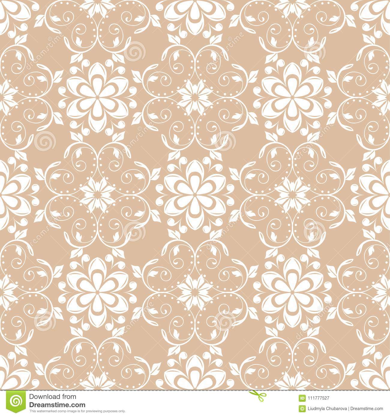 White floral pattern on beige seamless background