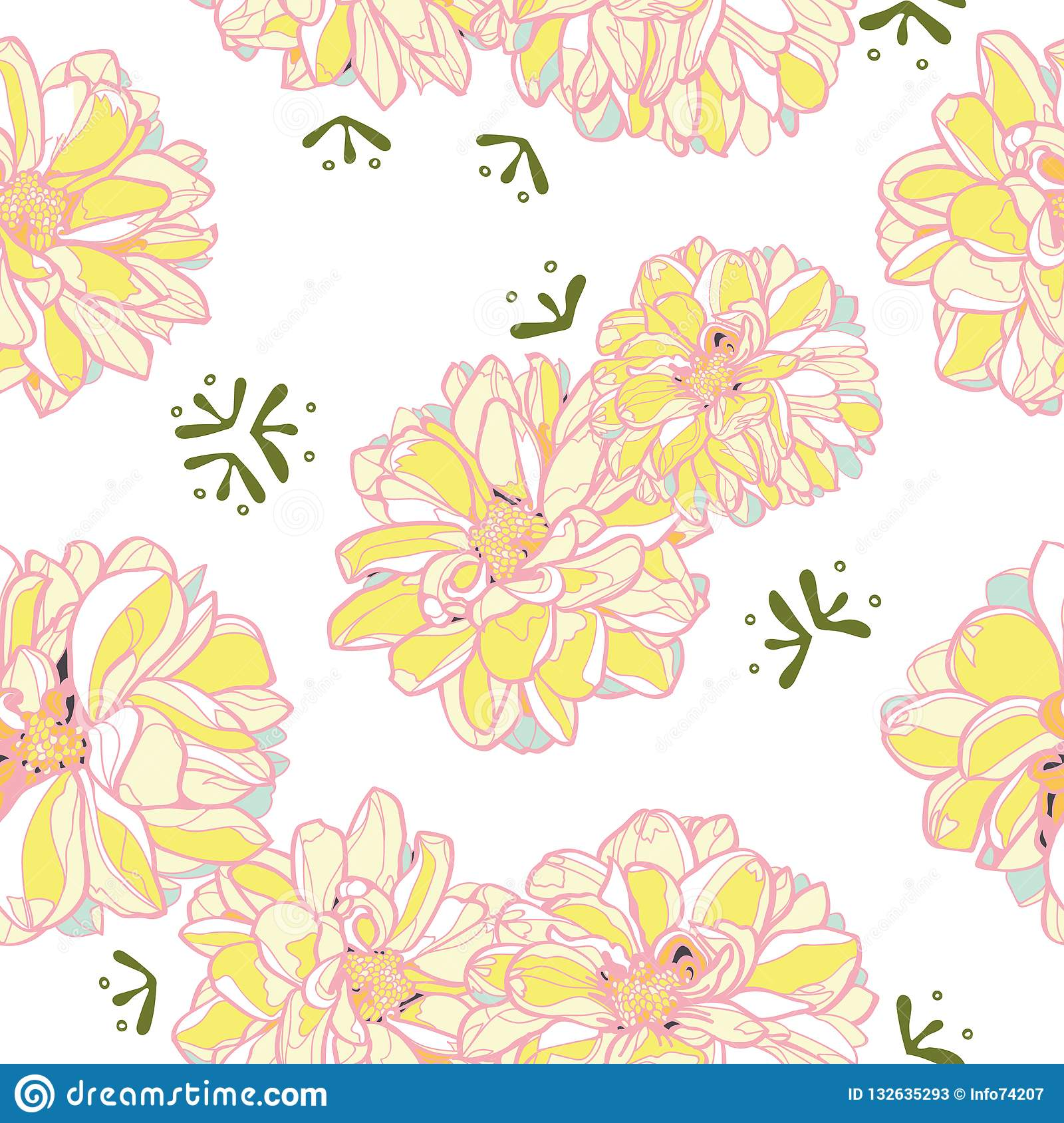 White floral pattern with yellow dahlia.