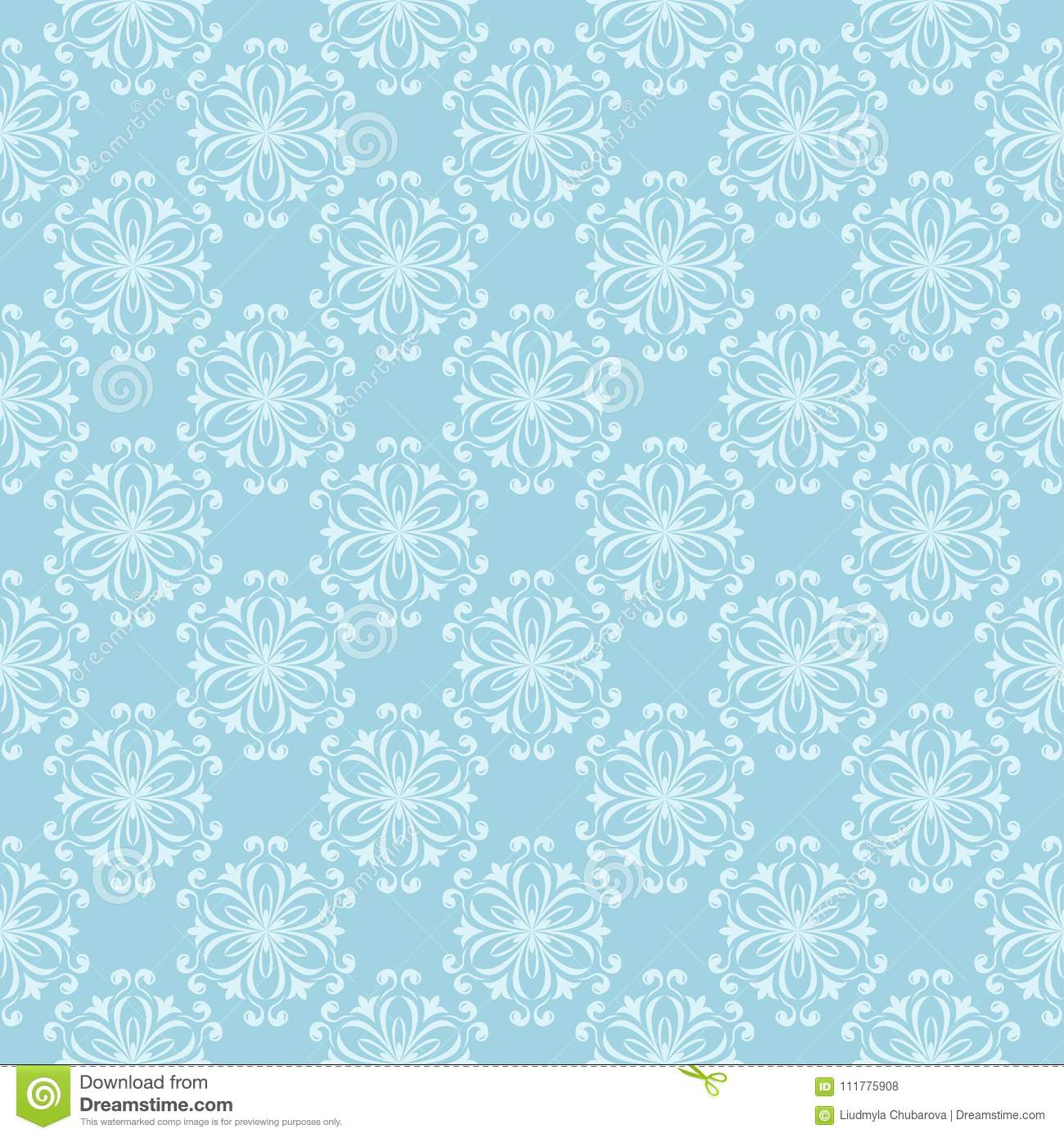 White floral seamless design on blue background