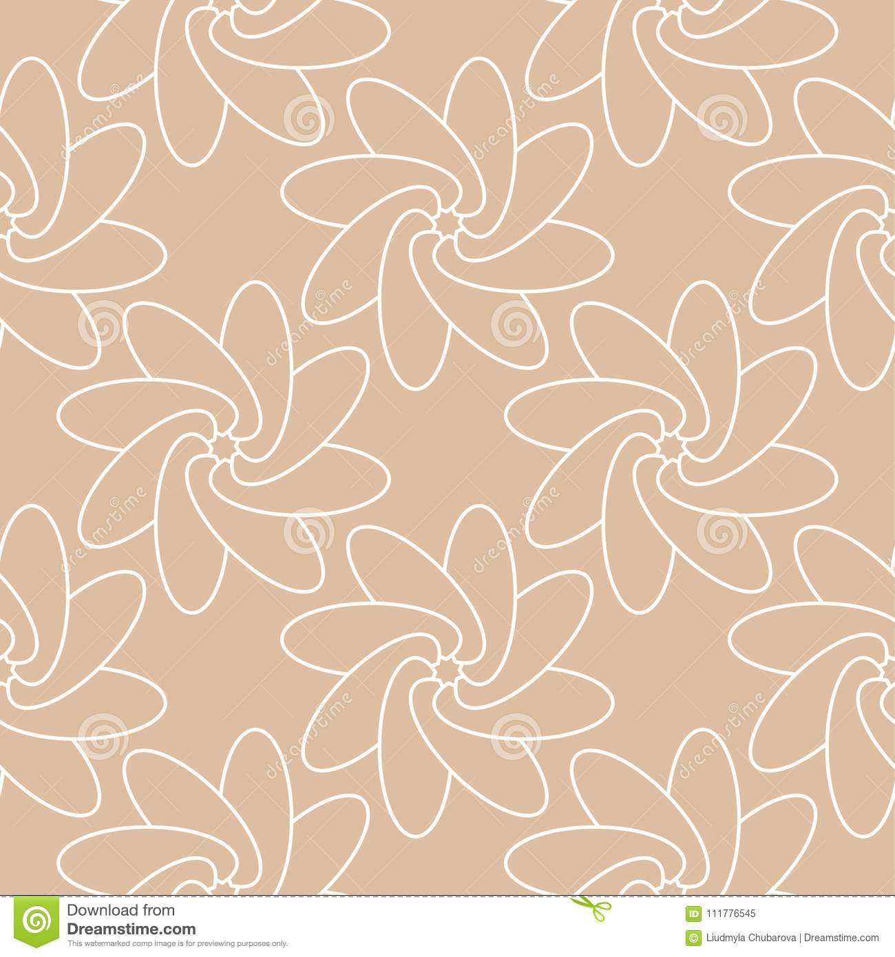 White floral seamless pattern on beige background
