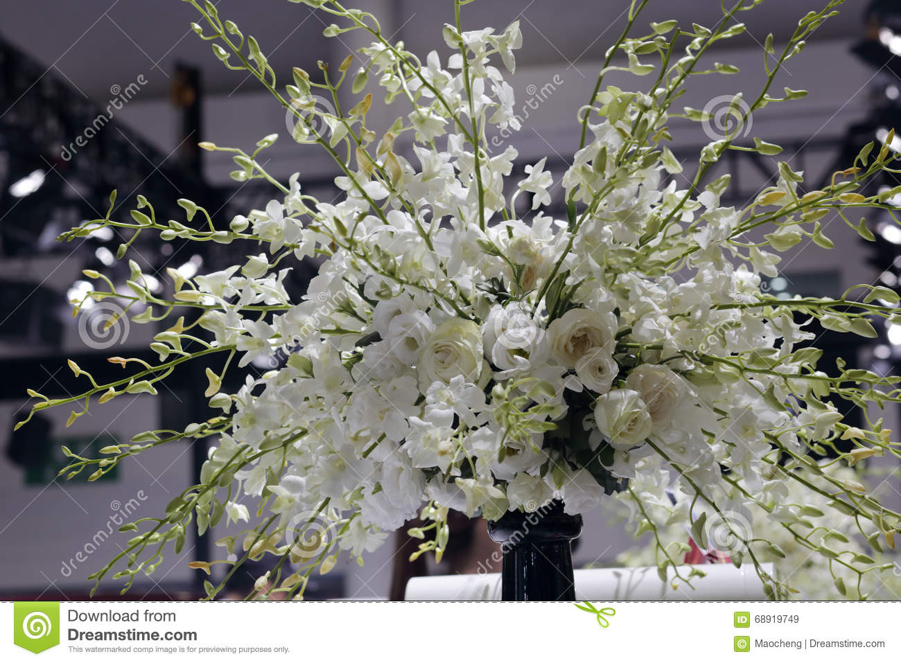 White Flower Arrangement Stock Image Image Of Black 68919749