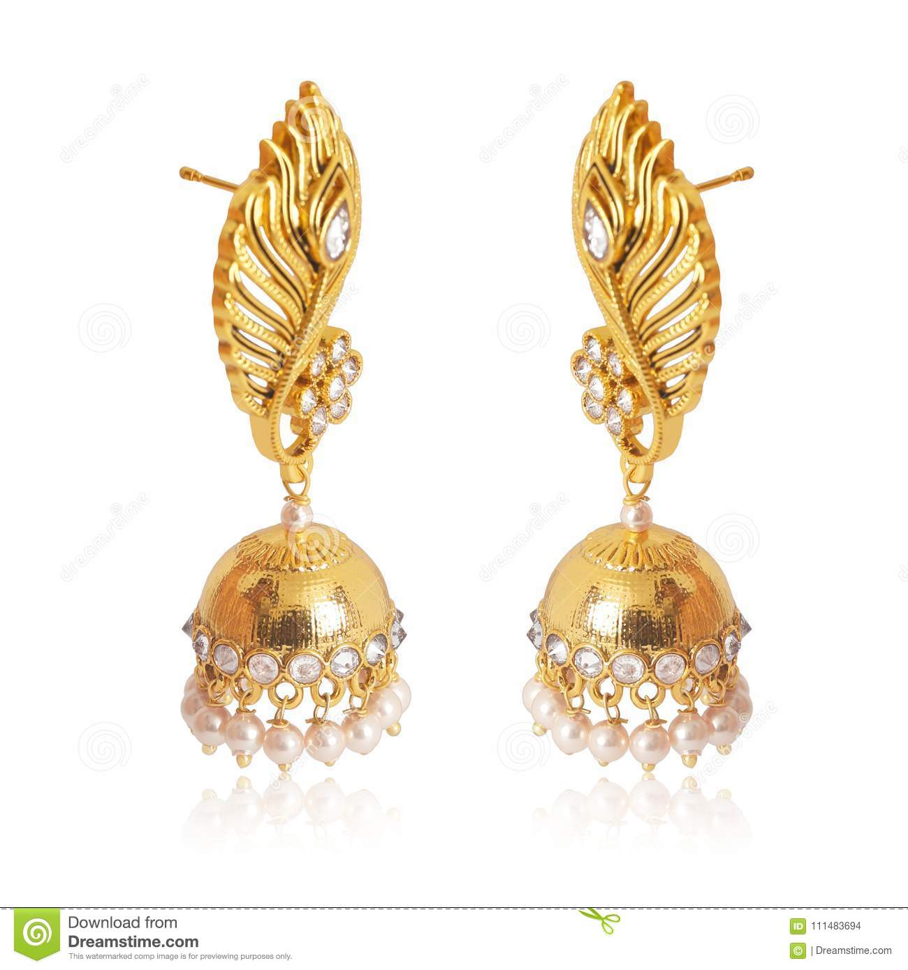 White Flower Indian Pearl Gold Jhumk Stock Photo Image Of Design Earring 111483694