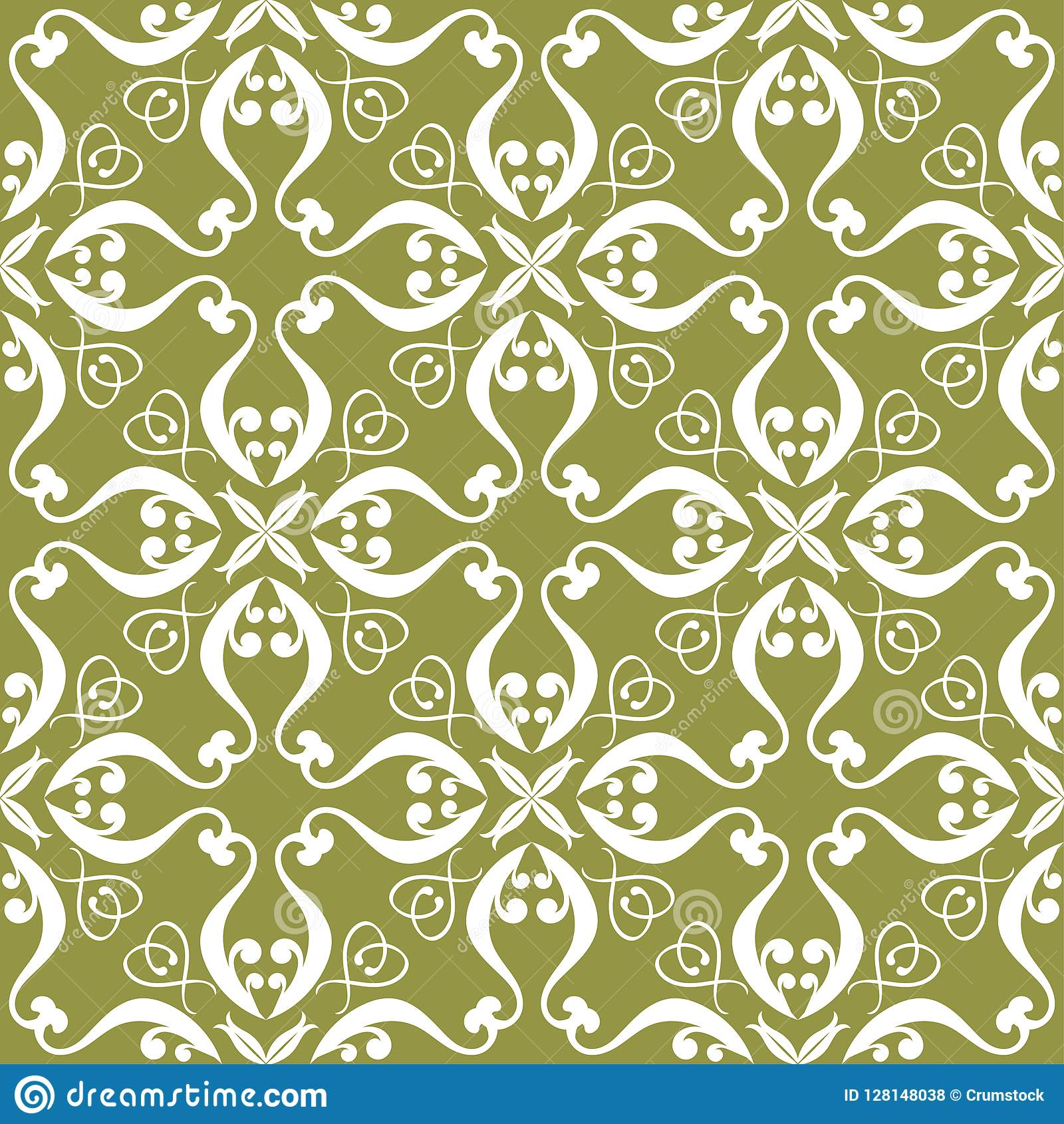 White flower on olive green background. Seamless pattern