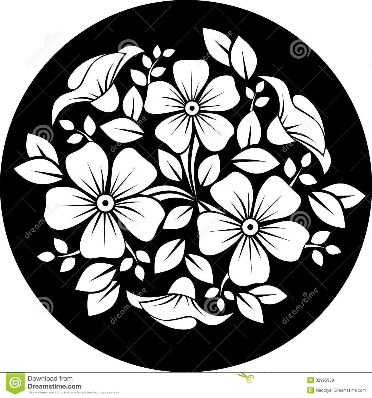White Flower Ornament On A Black Background Stock Vector