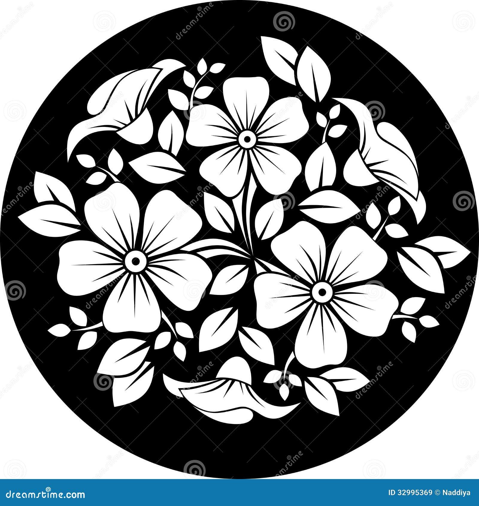 Black Flower On White Background Royalty Free Stock: White Flower Ornament On A Black Background. Royalty Free