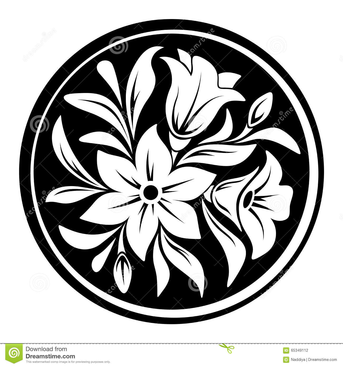 White Flower Ornament On A Black Circle Background Vector