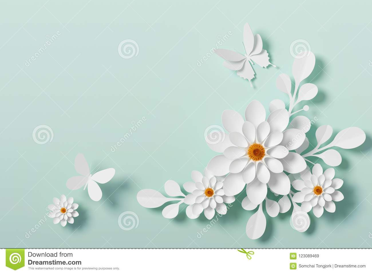 White Flower Paper Style Paper Craft Floral Butterfly Paper Fly