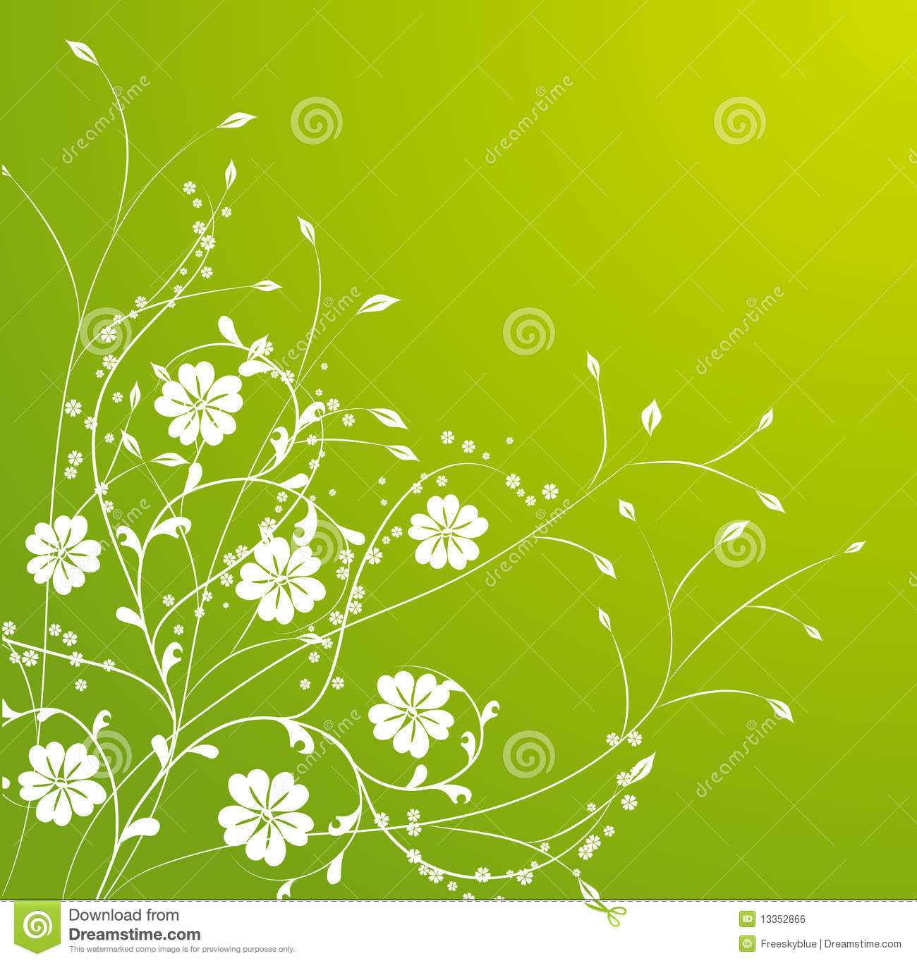 Green and white floral pattern - photo#18