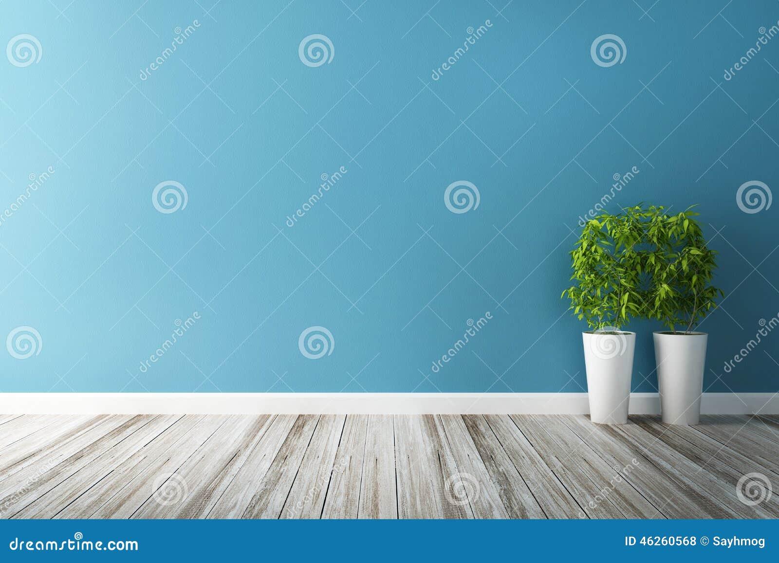 white flower plot and blue wall interior stock illustration