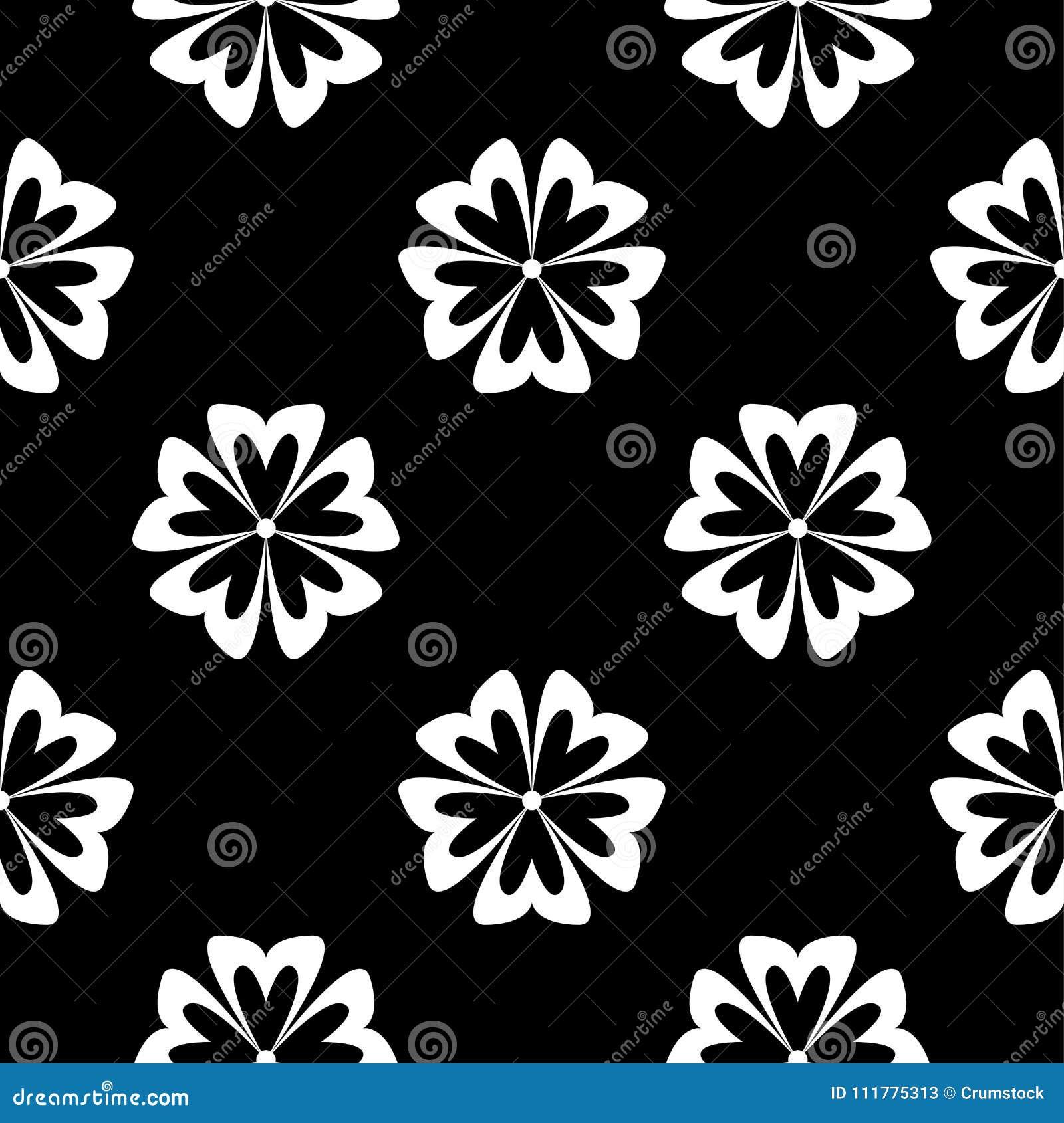 White flowers on black background. Ornamental seamless pattern