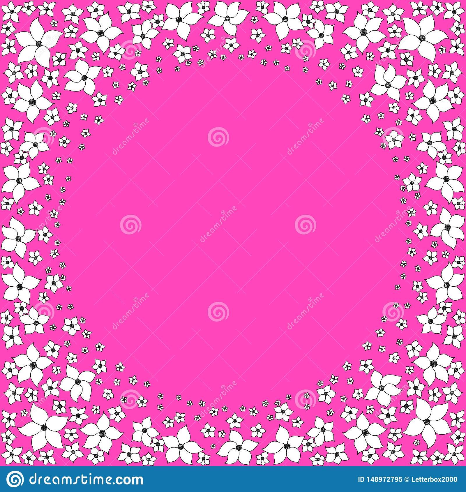 Round frame of white decorative flowers on a bright pink background.