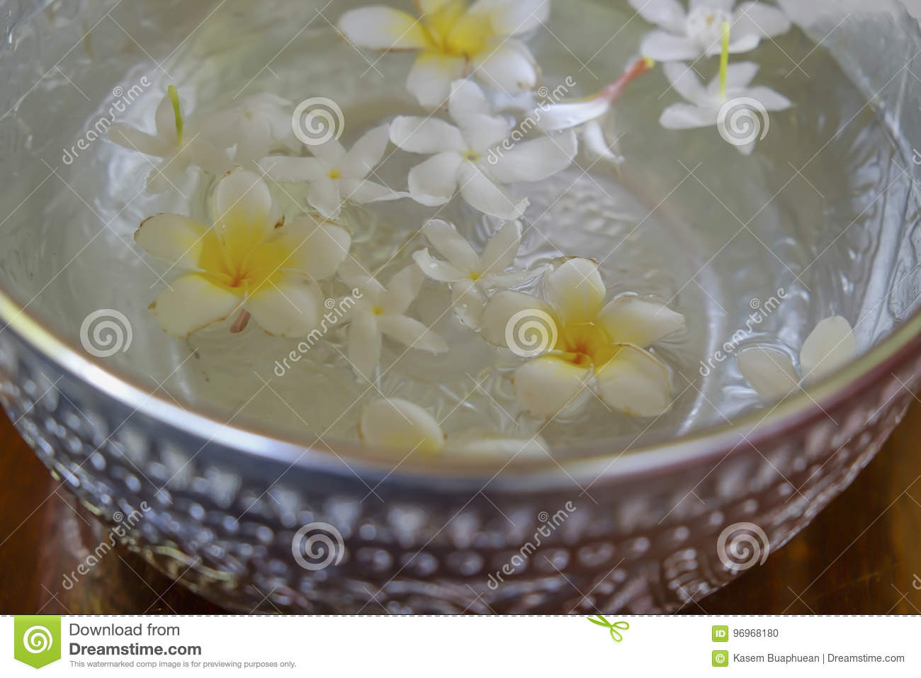 White flowers float in the bowl, Songkran Day, festival of Thailand