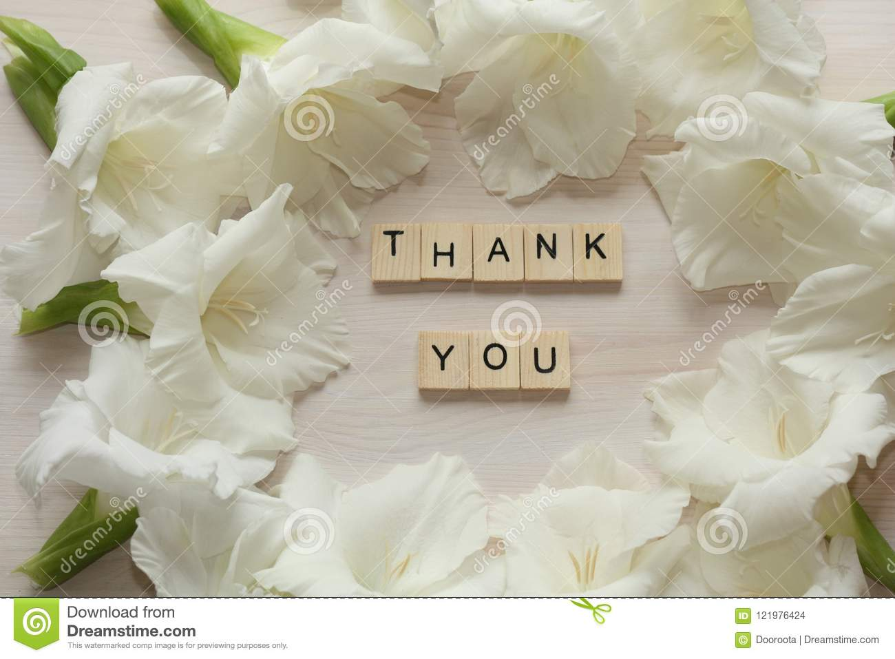 White Flowers Frame With Thank You Word Stock Photo Image Of