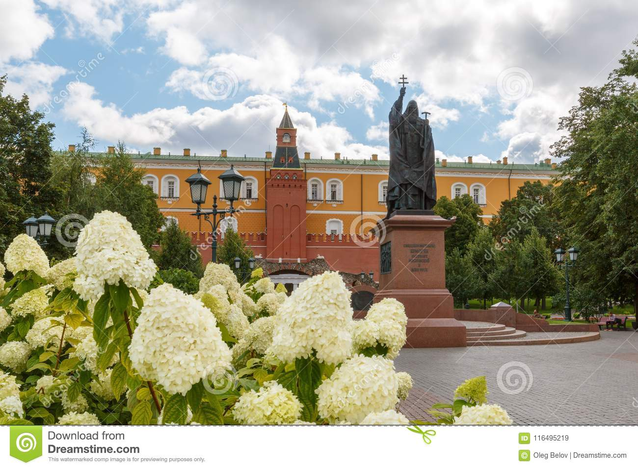 White flowers growing in the alexander garden and monument to moscow russia august 24 2017 white flowers growing in the alexander garden and monument to patriarch hermogen mightylinksfo
