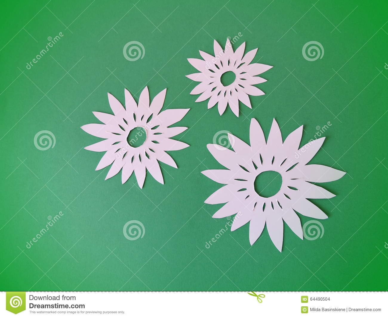 White Flowers Paper Cutting Stock Photo Image Of Three Flora