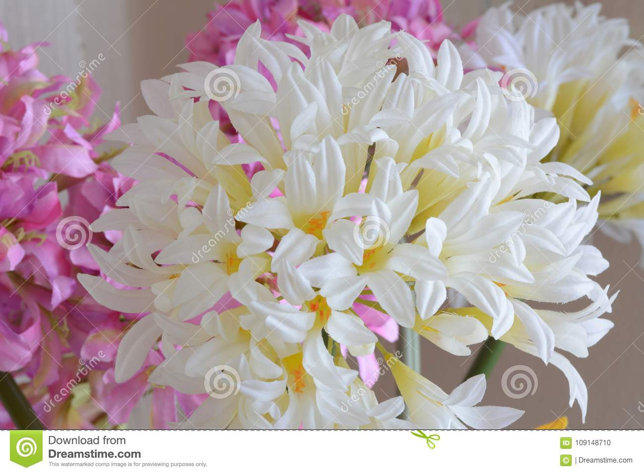 White flowers and pink fabric texture stock photo image of macro texture of white and yellow fabric flowers mightylinksfo