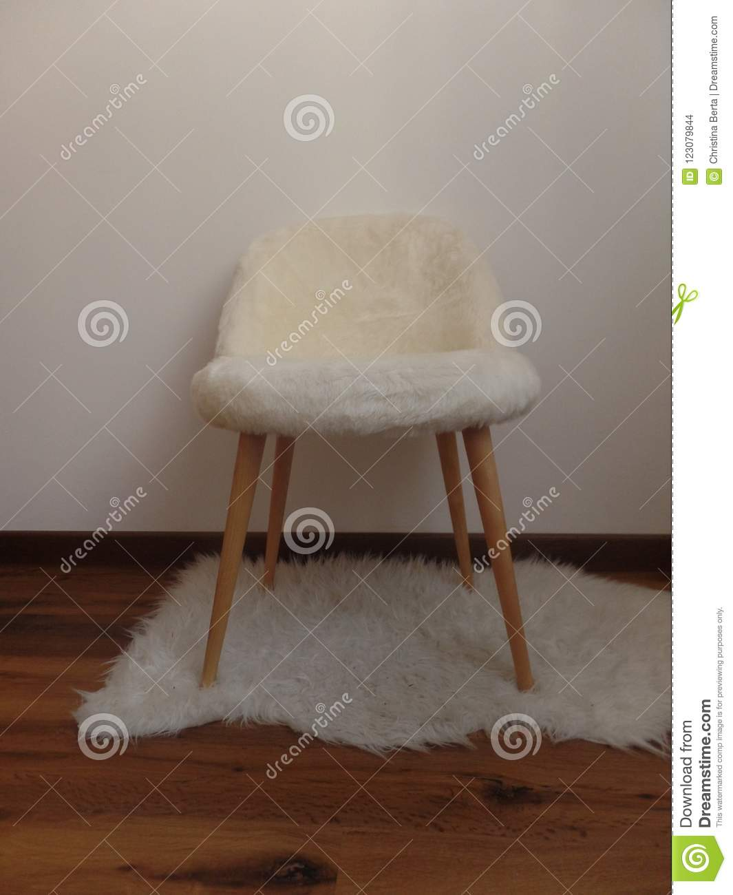 Phenomenal White Faux Fur Chair On A White Rug Stock Photo Image Of Cjindustries Chair Design For Home Cjindustriesco