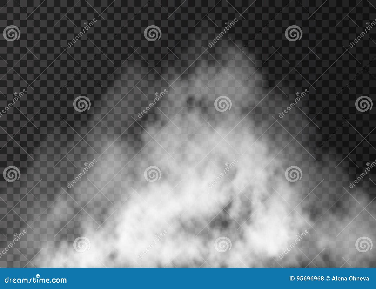 white fog effect isolated on transparent background stock