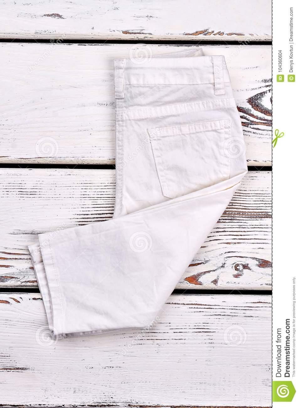 4b6523253 White Folded Trousers For Kids. Stock Photo - Image of cotton ...