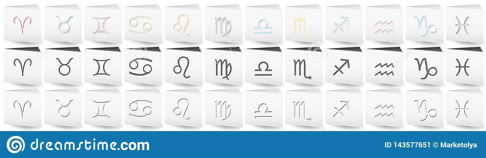 White Folders With Zodiac Signs On Covers Stock Vector
