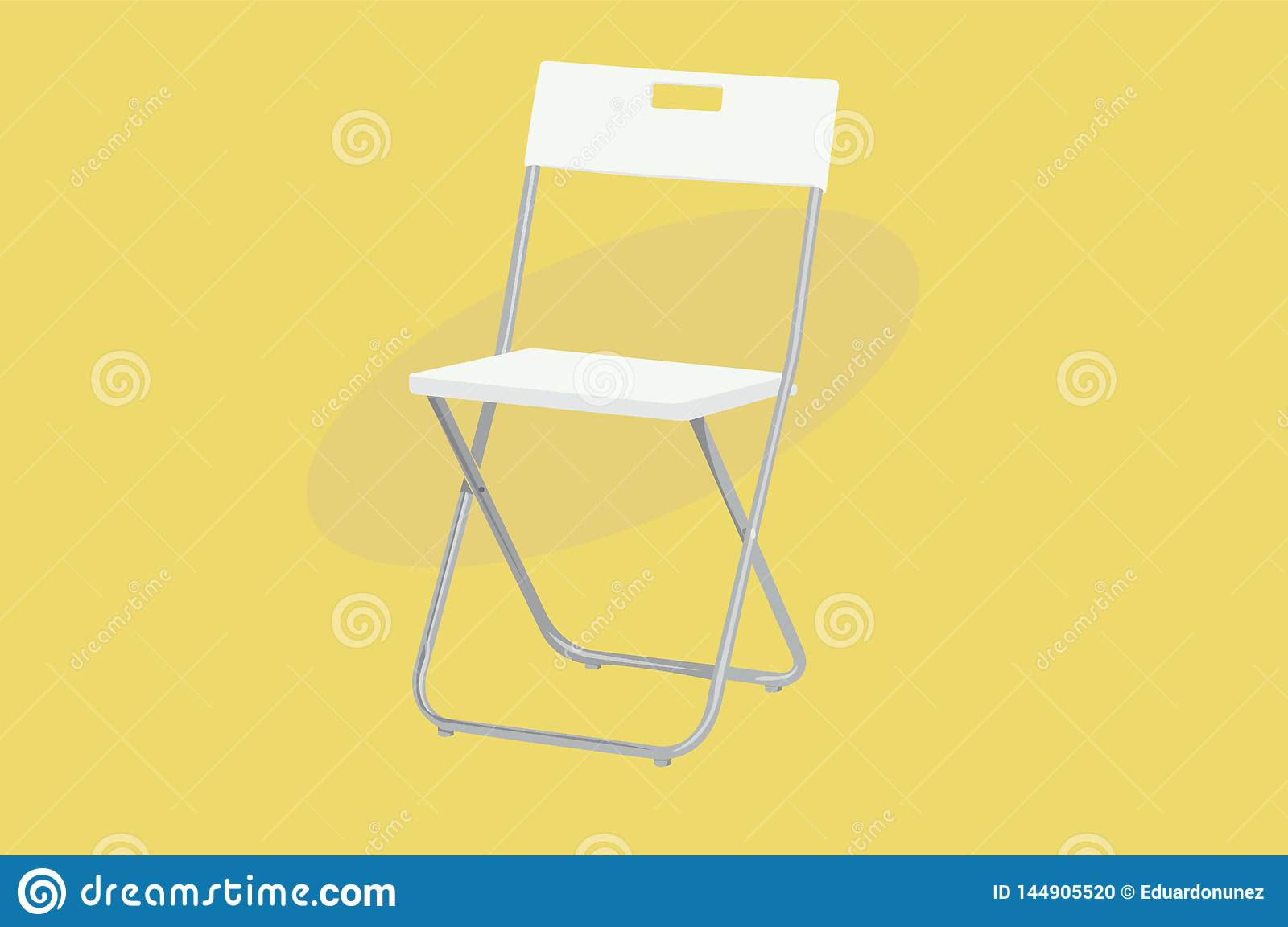 White Folding Chair with Structure of Aluminium. Vector Illustration, Isolated